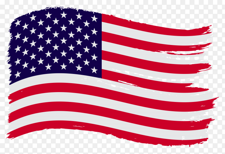 Usa flag grunge style on transparent PNG
