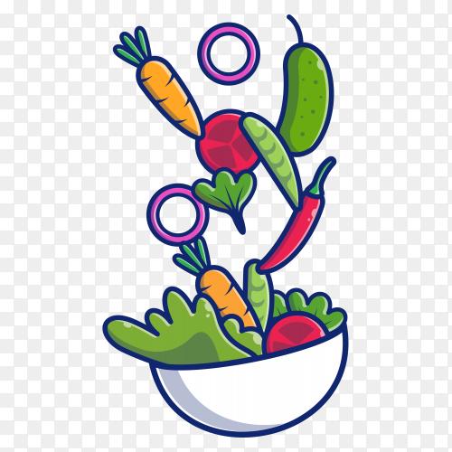 Vegetable salad icon illustration. health food on transparent background PNG