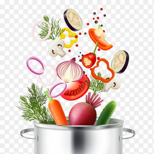 Vegetables and pot realistic concept with ingredients and cooking symbols on transparent background PNG