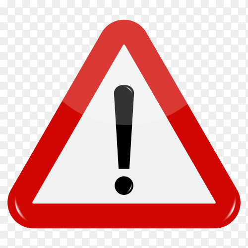 Warning Road sign in triangular shape with exclamation mark in road on transparent background PNG