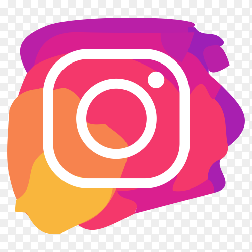 Watercolor Instagram icon design on transparent PNG