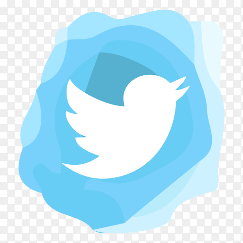 Watercolor Twitter icon design Illustration on transparent background PNG