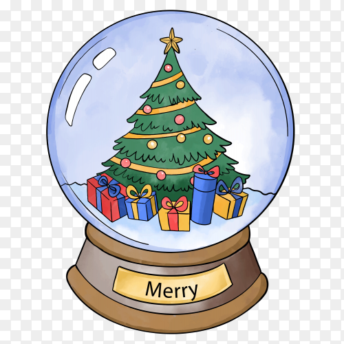 Watercolor Christmas snowball globe with decorated tree on transparent background PNG