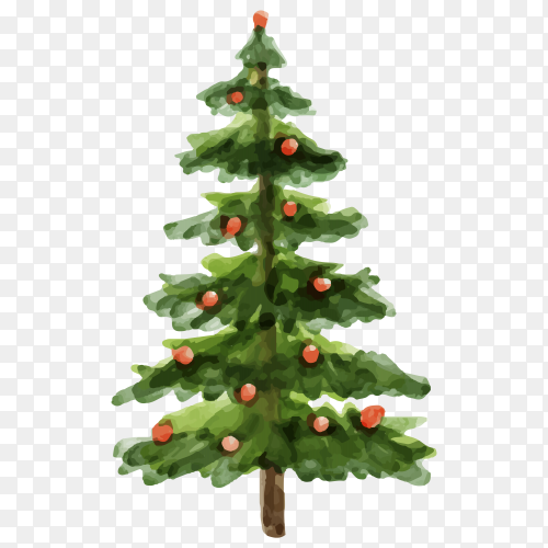 Watercolor Christmas tree concept Clipart PNG