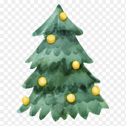 Watercolor Christmas tree concept on transparent PNG