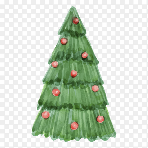 Watercolor Christmas tree concept on transparent background PNG