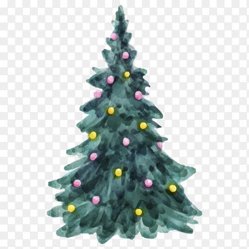 Watercolor Christmas tree concept premium vector PNG