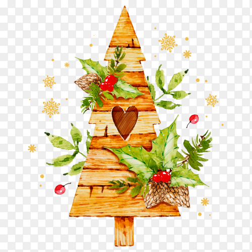 Watercolor Christmas tree decoration design on transparent PNG