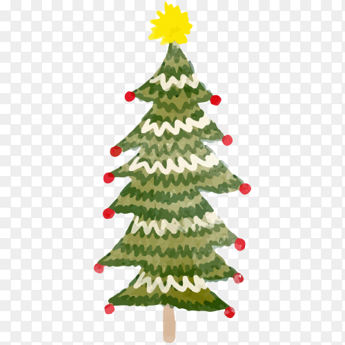 Watercolor Christmas tree illustration Clipart PNG