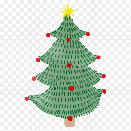 Watercolor Christmas tree illustration on transparent PNG