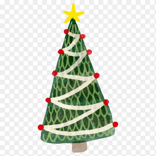 Watercolor Christmas tree illustration premium vector PNG