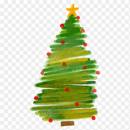 Watercolor Christmas tree premium vector PNG
