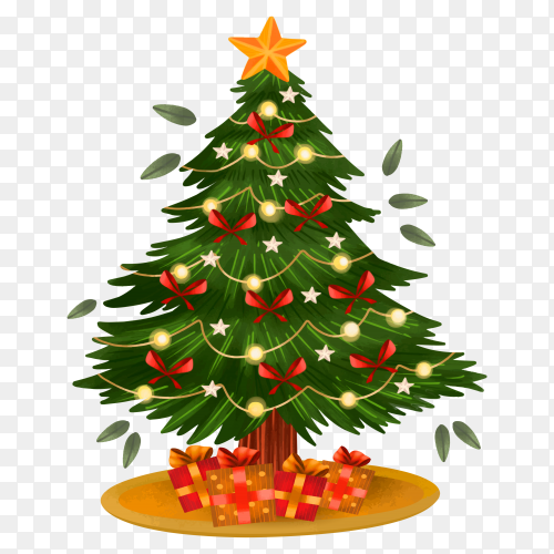 Watercolor Christmas tree with gifts illustration on transparent background PNG