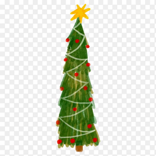 Watercolor Christmas tree with globes on transparent PNG