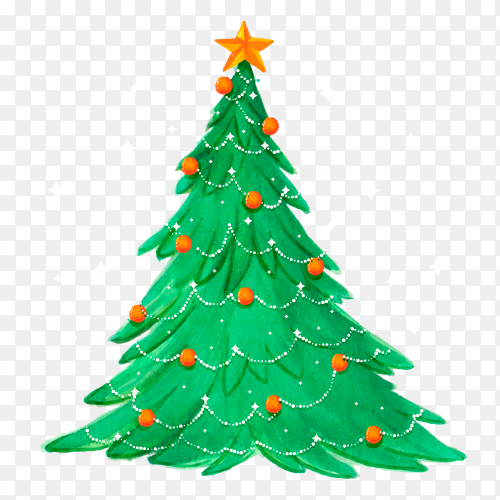 Watercolor Christmas tree with globes premium vector PNG