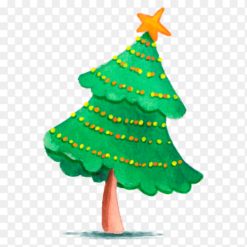 Watercolor Christmas tree with ornaments on transparent background PNG