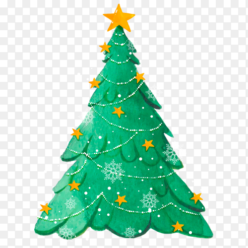 Watercolor Christmas tree with snowflakes on transparent background PNG