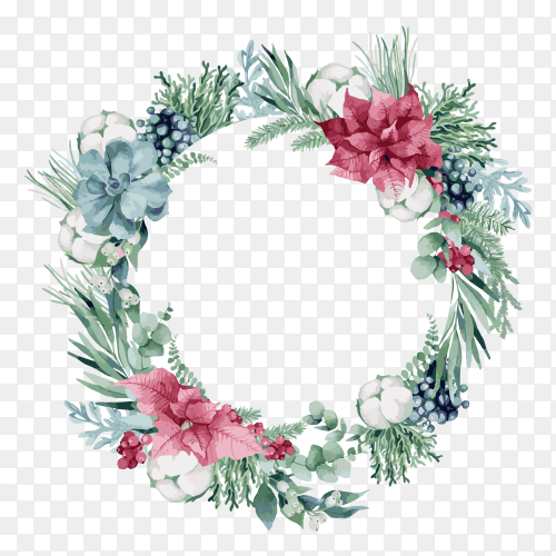 Watercolor Christmas wreath illustration on transparent background PNG