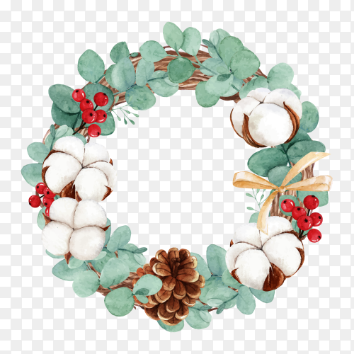Watercolor Christmas wreath with cotton flower on transparent background PNG
