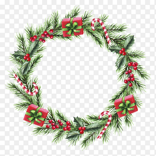 Watercolor Christmas wreath with fir branches, presents, candy and berries on transparent background PNG