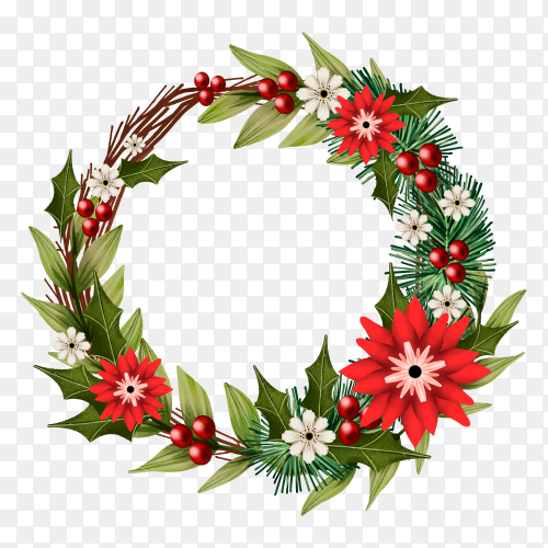 Watercolor Christmas wreath with flowers on transparent background PNG
