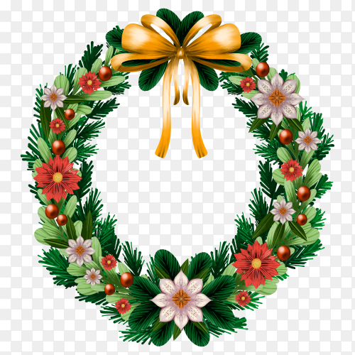 Watercolor Christmas wreath with golden bow on transparent background PNG