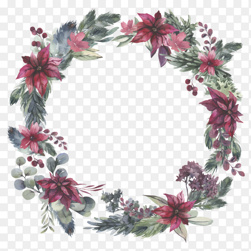 Watercolor Christmas wreath with red flowers on transparent background PNG