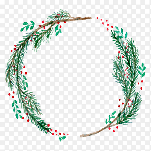 Watercolor Christmas wreath with twigs and berries on transparent background PNG