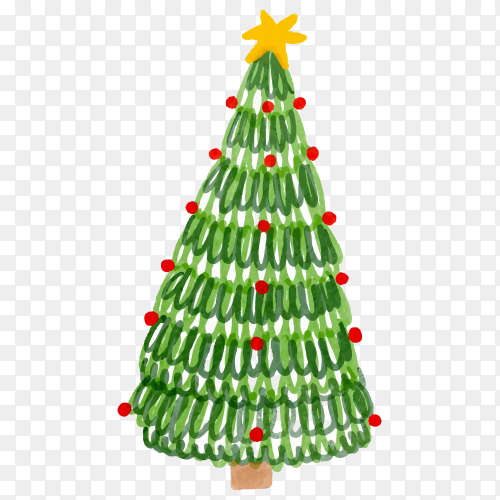 Watercolor decorated Christmas tree on transparent background PNG