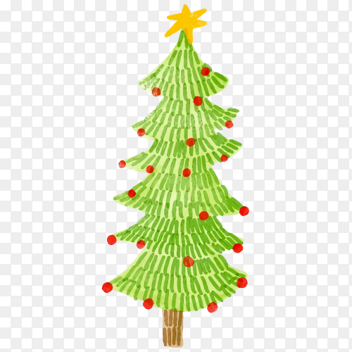 Watercolor decorated Christmas tree premium vector PNG