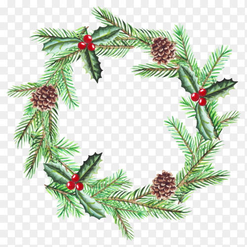 Watercolor illustration of Christmas wreath with fir branches on transparent background PNG