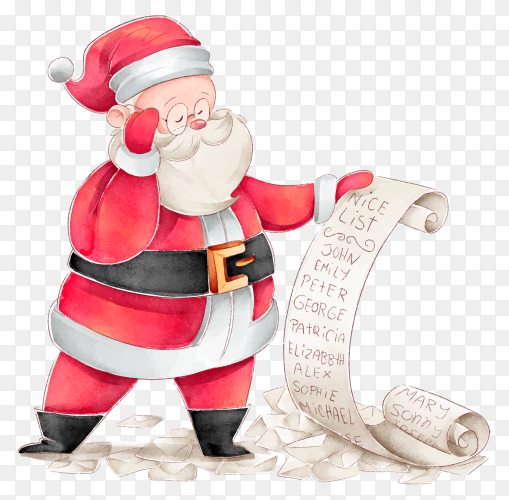 Watercolor Santa Claus checking wishes list on transparent background PNG