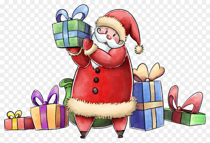 Watercolor Santa Claus with gifts illustration on transparent background PNG