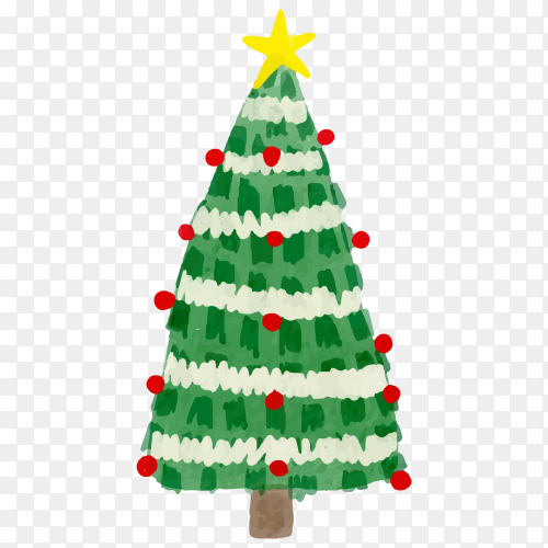Watercolor Christmas tree and snow on transparent background PNG
