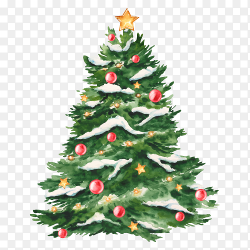 Watercolor Christmas tree and snow premium vector PNG