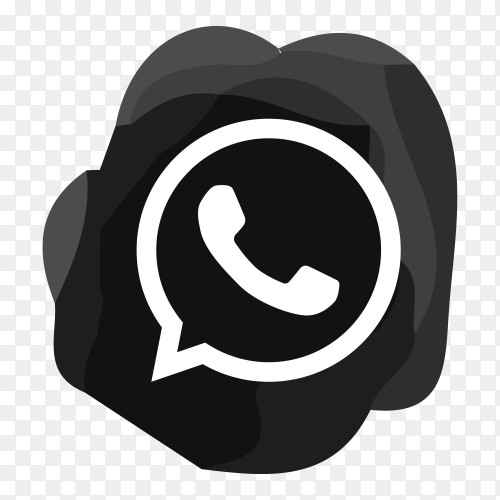 Whatsapp icon design in black color illustration on transparent background PNG