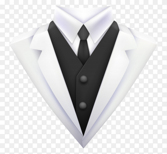 White business suit with tie and white shirt on transparent background PNG