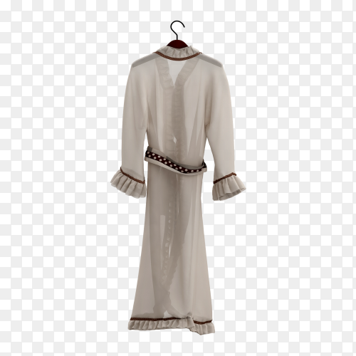 White dress 3D on transparent background PNG