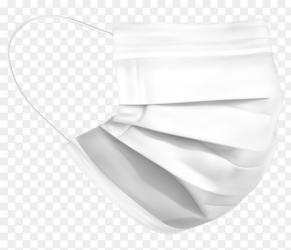 White medical mask isolated on transparent background PNG