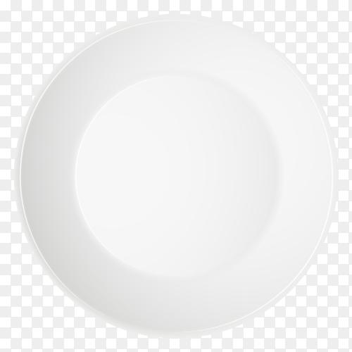 White plate illustration on transparent background PNG