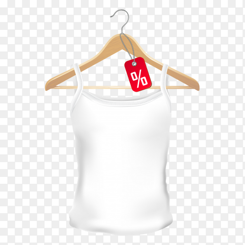 White t-shirt with clothing tag on wooden hanger on transparent background PNG