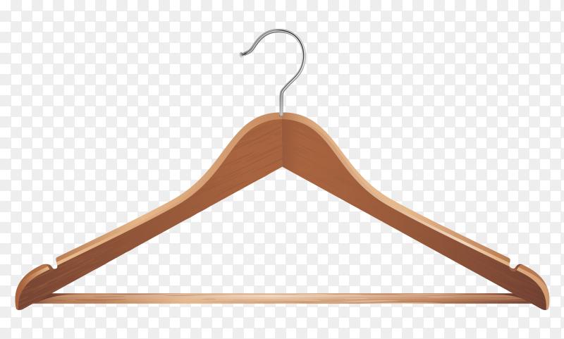 Wooden clothes hanger on transparent background PNG