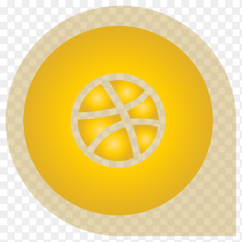 Yellow Dirbble icon design on transparent background PNG