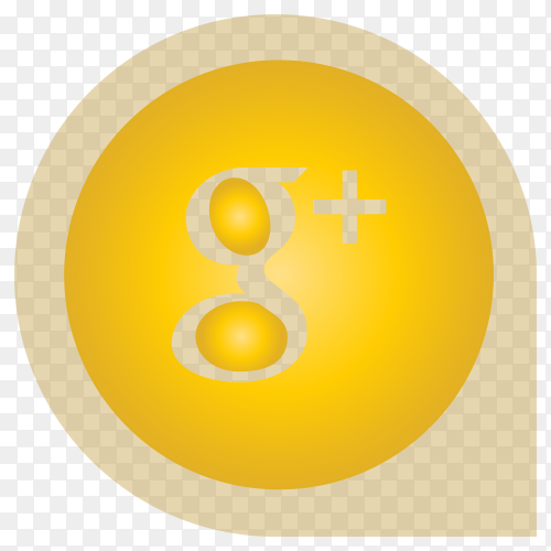 Yellow Google plus icon design on transparent background PNG