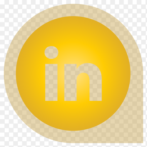 Yellow Linkedin icon design isolated on transparent PNG