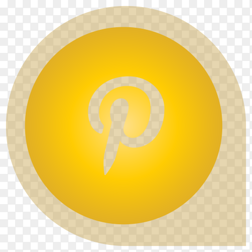 Yellow Pinterest icon design on transparent PNG