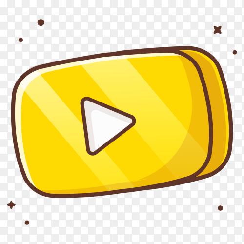 Yellow Play music button icon on transparent background PNG