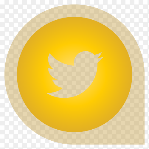 Yellow Twitter icon design premium vector PNG