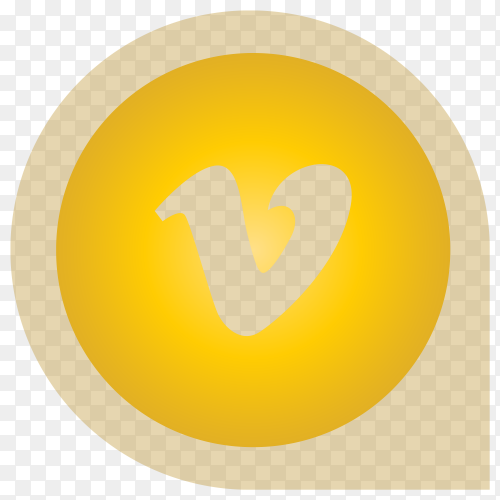 Yellow Vimeo icon design on transparent background PNG