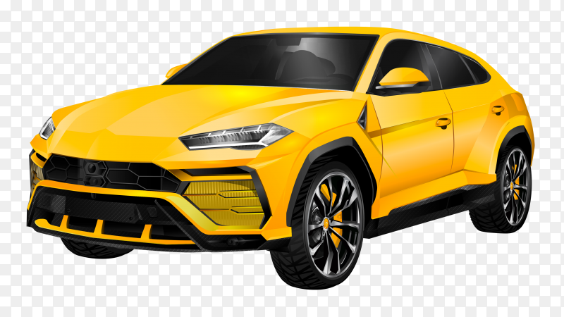 Yellow car design illustration on transparent background PNG